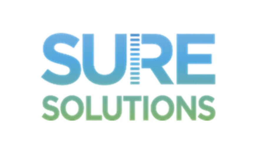 Sure Solutions logo, blue and green text on white background