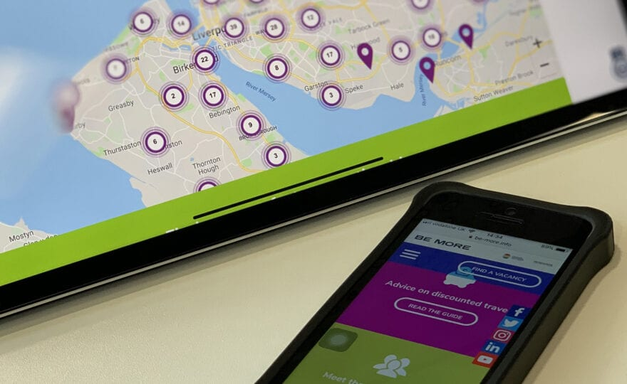 smart phone and tablet displaying be more website